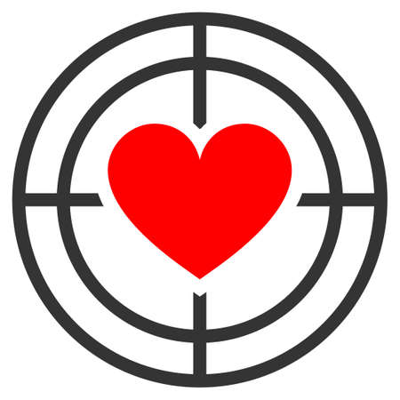 Love Target flat vector pictograph. An isolated icon on a white background.