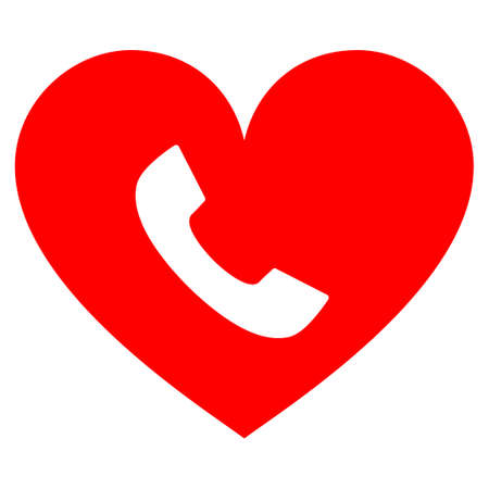 Phone Heart flat vector icon. An isolated icon on a white background.