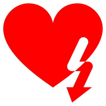 Love Heart Strike flat raster illustration. An isolated icon on a white background.