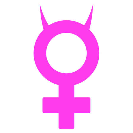 Devil Female Symbol flat raster icon. An isolated icon on a white background.