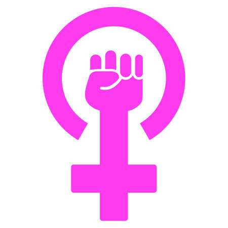 Feminism Symbol flat raster pictograph. An isolated icon on a white background.