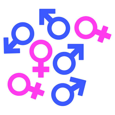 Gender Symbols flat raster pictograph. An isolated icon on a white background. Stock Photo