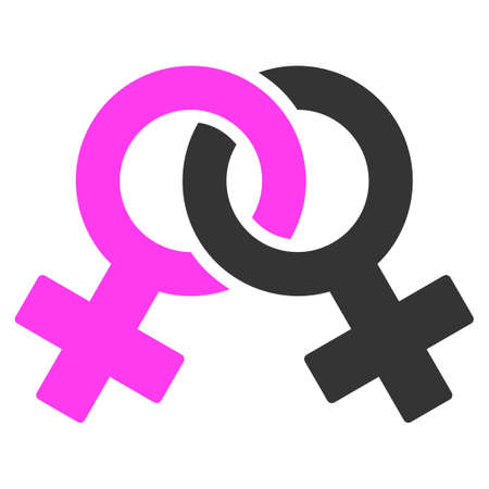 Lesbian Symbol flat raster icon. An isolated icon on a white background.