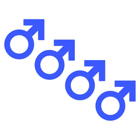 Male Cohort Symbol flat raster pictogram. An isolated icon on a white background.