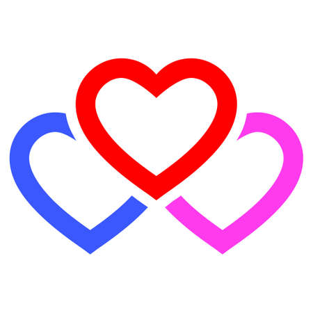 Triple Love Hearts flat raster icon. An isolated icon on a white background.