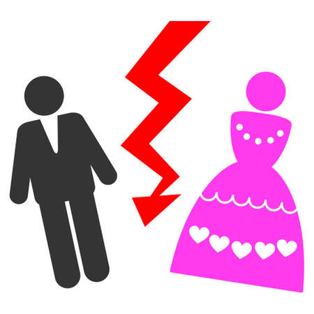 Divorce Persons flat vector icon. An isolated icon on a white background.