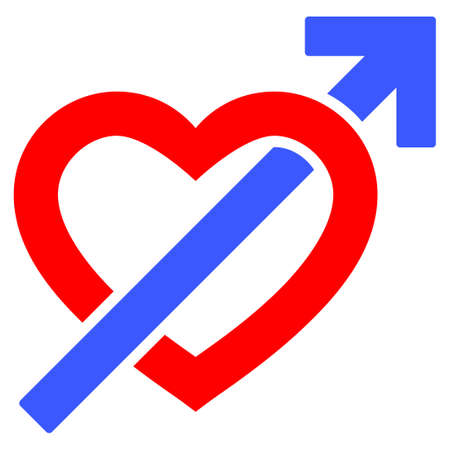 Heart penetration arrow flat vector pictograph. An isolated icon on a white background.