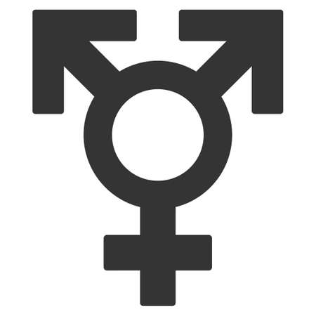 Polyandry Sex Symbol flat vector pictogram. An isolated icon on a white background.