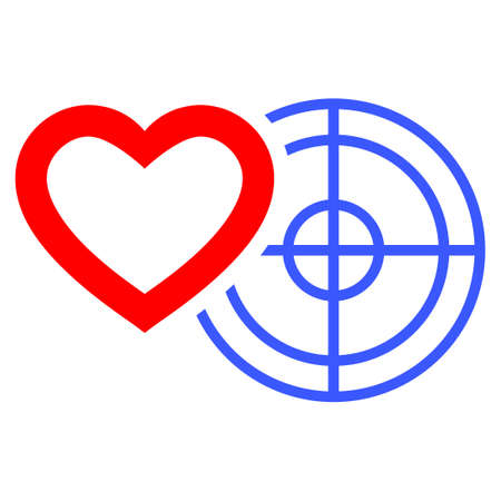sniper: Romantic Heart Target flat vector illustration. An isolated icon on a white background.