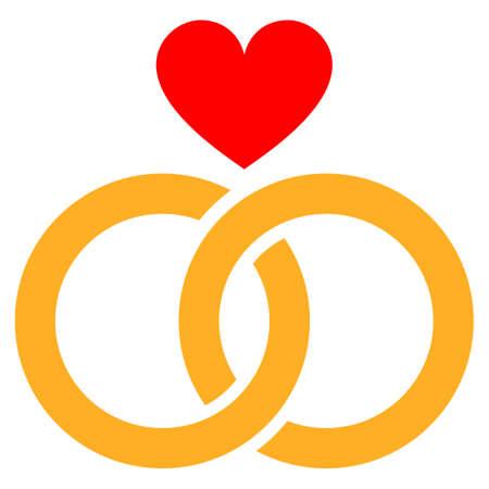 Romantische ringen platte vector pictogram. Een geïsoleerd pictogram op een witte achtergrond.