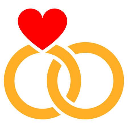 Icono de vector plano de anillos de boda. Un icono aislado en un fondo blanco. Foto de archivo - 88689377