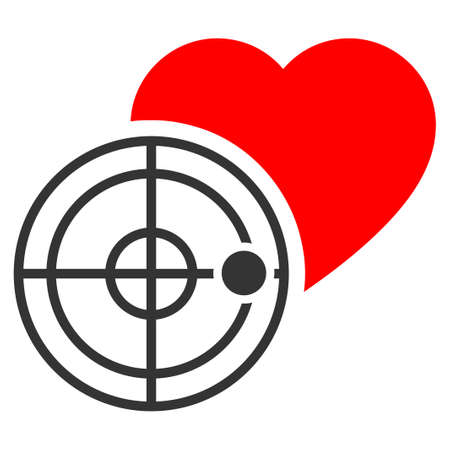 Love heart radar flat vector pictograph. An isolated icon on a white background.