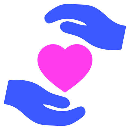 Favorite heart care Hands flat vector pictogram. An isolated icon on a white background. Illustration