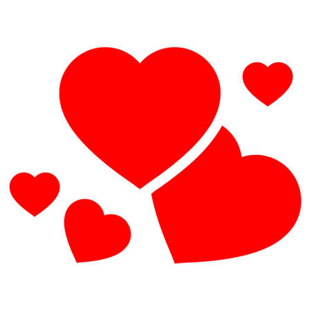Romantic Hearts flat vector pictogram. An isolated icon on a white background. Illustration