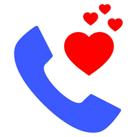 Romantic Phone flat vector illustration. An isolated icon on a white background. Illustration