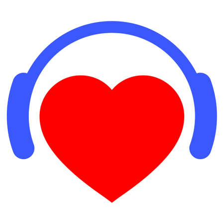 Romantic Heart Dj flat vector pictograph. An isolated icon on a white background. Illustration
