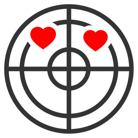 Love Hearts Radar flat raster pictogram. An isolated icon on a white background.