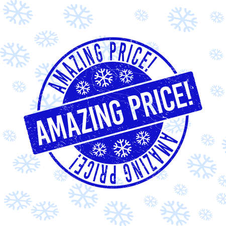 Amazing Price! round stamp seal on winter background with snowflakes. Blue vector rubber imprint with Amazing Price! text with dirty texture for Xmas. Grunge label seal stamp with grunge texture.