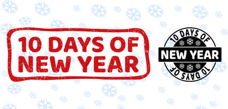 10 Days of New Year stamp seals on winter background with snowflakes in clean and draft versions for New Year.