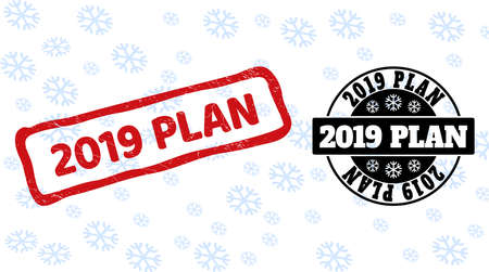 2019 Plan stamp seals on winter background with snowflakes in clean and draft versions for Xmas. Red vector rubber imprint with 2019 Plan text with scratched texture in draft rectangle shape.