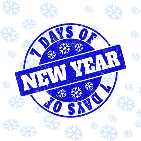 7 Days of New Year round stamp seal on winter background with snowflakes. Blue vector rubber imprint with 7 Days of New Year text with dirty texture for Xmas.