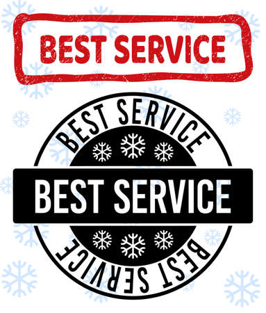 Best Service stamp seals on winter background with snow in clean and draft versions for Xmas. Red vector rubber imprint with Best Service text with dust texture in crooked rectangle shape.
