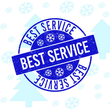 Best Service round stamp seal on winter background with snow. Blue vector rubber imprint with Best Service text with grunged texture for Xmas. Grunge text seal imprint with corroded texture. Ilustrace