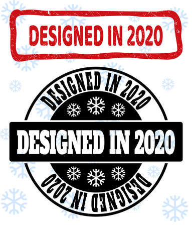 Designed in 2020 stamp seals on winter background with snow in clean and draft versions for New Year.