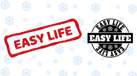 Easy Life stamp seals on winter background with snow in clean and draft versions for Xmas. Red vector rubber imprint with Easy Life text with dirty texture in uneven rectangle shape.