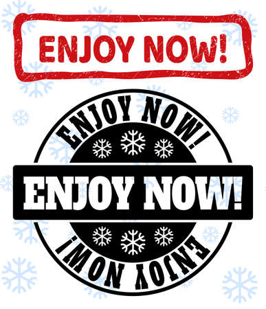 Enjoy Now! stamp seals on winter background with snow in clean and draft versions for Christmas. Red vector rubber imprint with Enjoy Now! text with unclean texture in crooked rectangle shape. Ilustrace