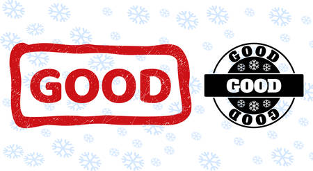 Good stamp seals on winter background with snowflakes in clean and draft versions for New Year. Red vector rubber imprint with Good text with grunged texture in rough rectangle shape.