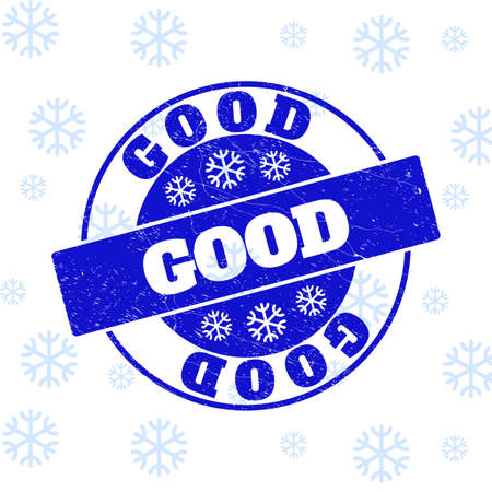 Good round stamp seal on winter background with snowflakes. Blue vector rubber imprint with Good text with dust texture for New Year. Grunge text seal print with grunge texture.