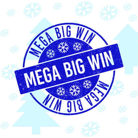 Mega Big Win round stamp seal on winter background with snowflakes. Blue vector rubber imprint with Mega Big Win text with scratched texture for Christmas.
