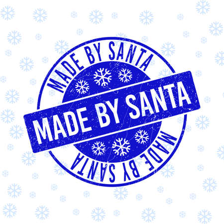 Made by Santa round stamp seal on winter background with snow. Blue vector rubber imprint with Made by Santa text with scratched texture for New Year. Scratched text seal stamp with grunge effect.