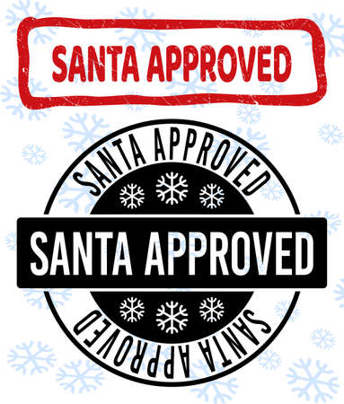 Santa Approved stamp seals on winter background with snowflakes in clean and draft versions for New Year.