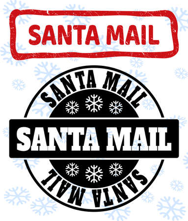 Santa Mail stamp seals on winter background with snow in clean and draft versions for Christmas. Red vector rubber imprint with Santa Mail text with dirty texture in draft rectangle shape.