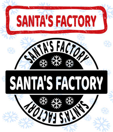 Santa'S Factory stamp seals on winter background with snowflakes in clean and draft versions for Xmas. Red vector rubber imprint with Santa'S Factory text with dust texture in draft rectangle shape. 일러스트