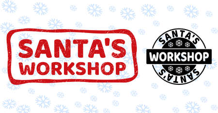 Santa'S Workshop stamp seals on winter background with snow in clean and draft versions for New Year.