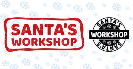 Santa's Workshop Stempelsiegel auf Winterhintergrund mit Schnee in sauberen und Entwurfsversionen für das neue Jahr.