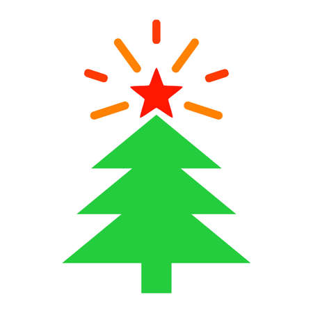 Shine Christmas Tree raster illustration. A flat illustration iconic design of Shine Christmas Tree on a white background. Banco de Imagens
