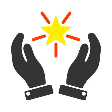 Shine Star Care Hands vector illustration. A flat illustration iconic design of Shine Star Care Hands on a white background.