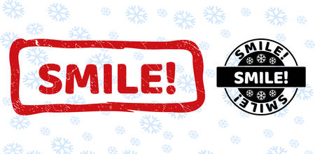Smile! stamp seals on winter background with snow in clean and draft versions for Xmas. Red vector rubber imprint with Smile! text with scratched texture in draft rectangle shape. Illustration
