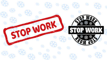 Stop Work stamp seals on winter background with snow in clean and draft versions for Christmas. Red vector rubber imprint with Stop Work text with scratched texture in draft rectangle shape.