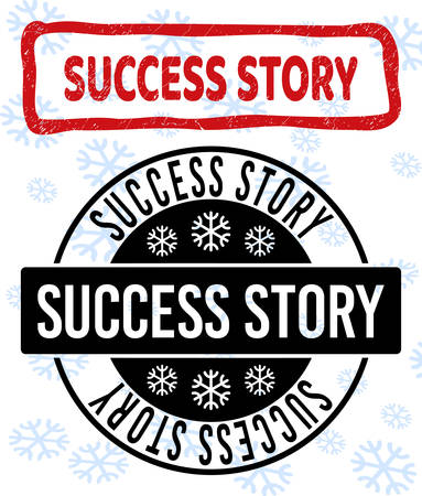 Success Story stamp seals on winter background with snowflakes in clean and draft versions for Christmas.