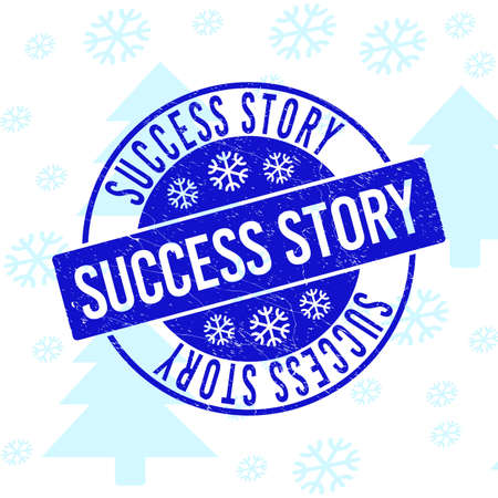 Success Story round stamp seal on winter background with snow. Blue vector rubber imprint with Success Story text with scratched texture for Christmas. Scratched text seal imprint with grunge effect. Ilustrace