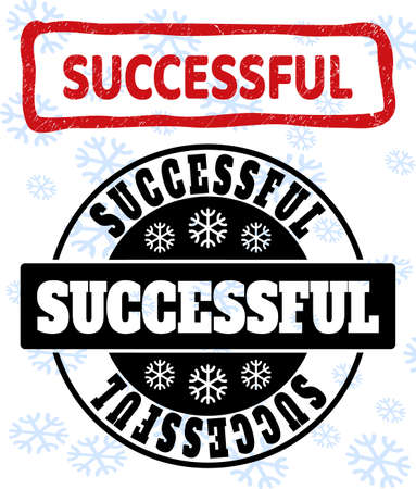 Successful stamp seals on winter background with snow in clean and draft versions for Christmas. Red vector rubber imprint with Successful text with unclean texture in uneven rectangle shape.