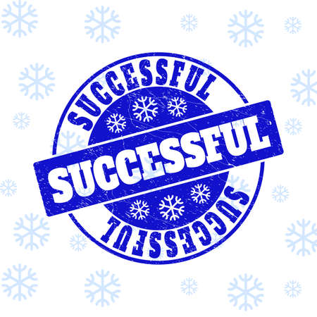 Successful round stamp seal on winter background with snow. Blue vector rubber imprint with Successful text with dust texture for New Year. Scratched text seal imprint with corroded texture.