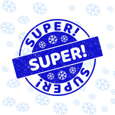 Super! round stamp seal on winter background with snowflakes. Blue vector rubber imprint with Super! text with dust texture for Christmas. Grunge text seal watermark with grunge texture. Ilustrace