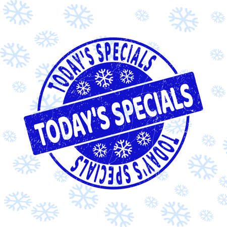 TodayS Specials round stamp seal on winter background with snowflakes. Blue vector rubber imprint with TodayS Specials text with grunged texture for Xmas.