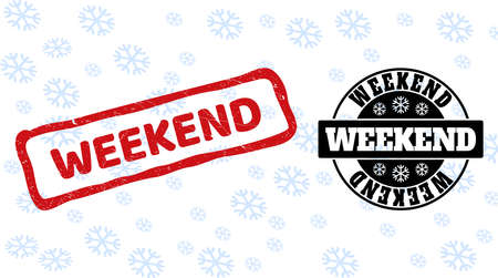 Weekend stamp seals on winter background with snowflakes in clean and draft versions for Xmas. Red vector rubber imprint with Weekend text with dust texture in crooked rectangle shape.